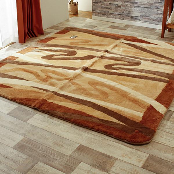 ムートン ラグ 絨毯 冬用 オールシーズン 200х200cm ブラウン ベージュ