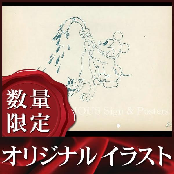【オリジナルイラスト画】ミッキーマウス (ディズニー グッズ 小道具) /額装サービス