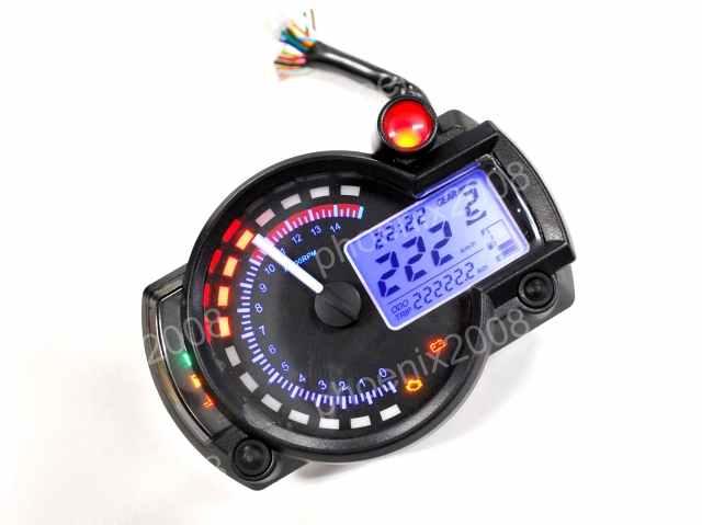 多機能 マルチ デジタルメーター 12V 電気式 4スト 日本語配線図付