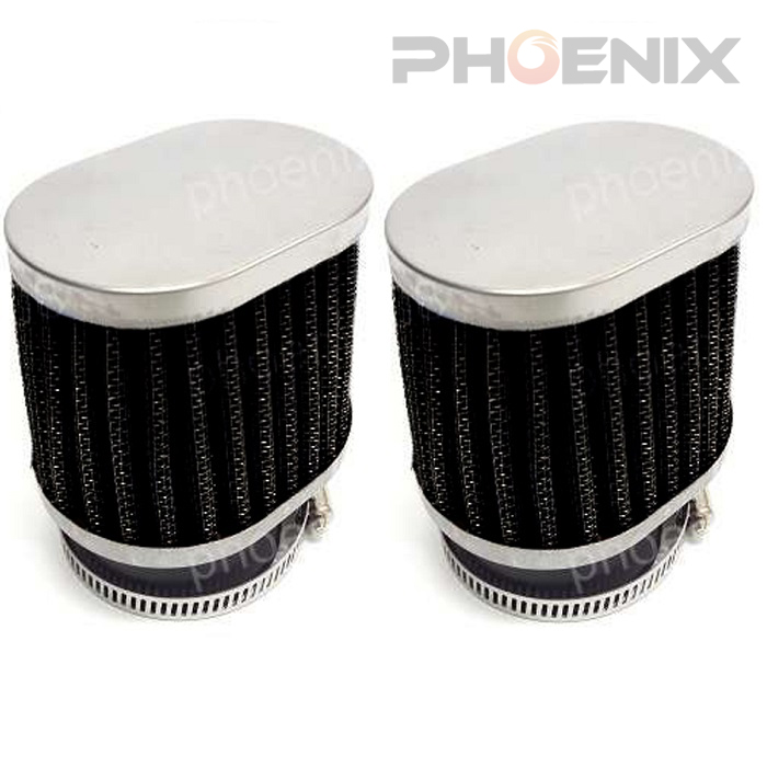Two 5302x2 motorcycles general-purpose Oval power filter air fan flannel 48  φ (47mm~49mm correspondence) black two set
