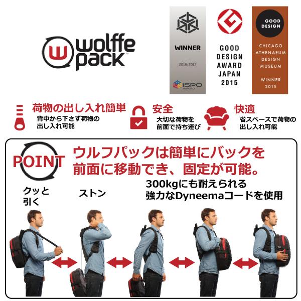 wolffe pack(ウルフパック)サミット(SUMMIT)16+2リットルまるでマジック!前面にバック部分を移動可能!荷物の出し入れが簡単!簡単に前持ちが出来る!アウトドアやウィンタースポーツに特化した革命的バック