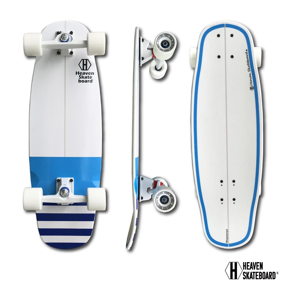 スケートボード サーフスケートボード HEAVEN Mission29 ヘブン ミッション29 スケボー サーフィンオフトレ 波がない時でもストリートでサーフィンを体感できる 短めのデッキでクルージングにも ボトムターンやカットバックの練習にも最適訳あり