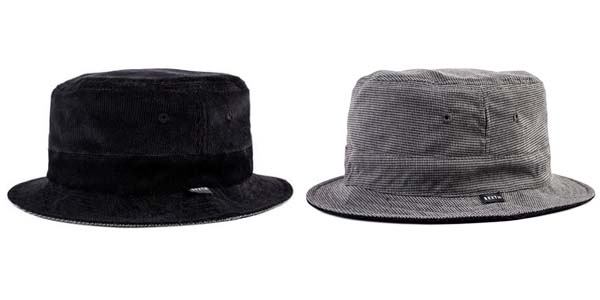 54aa4444869754 ... BRIXTON, Brixton, black corduroy organiccotton houndstooth check,  reversible short brim, bucket hat ...