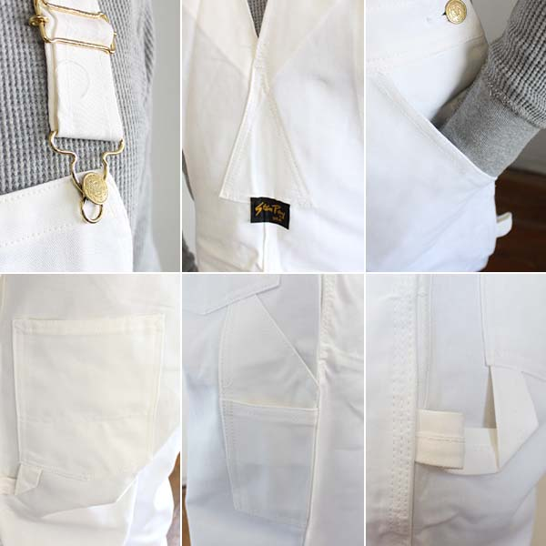 100% USA made by Stan Ray Stanley cotton twill overalls white white 7354 Painter's Overalls