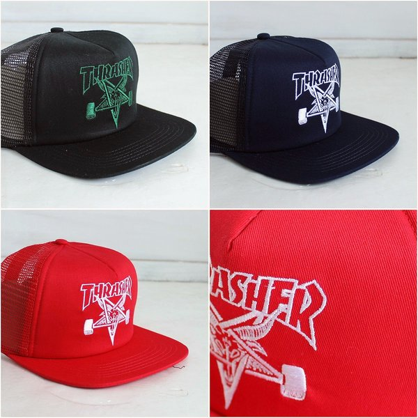 098a8ab2c8e THRASHER MAGAZINE Thrasher Magazine SKATE GOAT embroidered snap back mesh  caps 3 colors 20150629