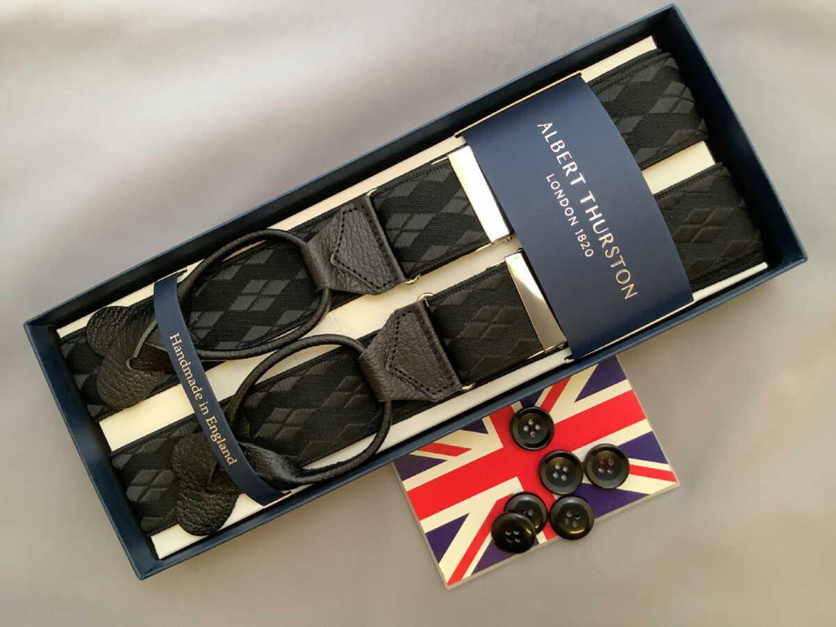 AL完売しました 賜物 サスペンダー英国製アルバートサーストン サスペンダー 英国製アルバートサーストン B100 クラシックボタン留ブレイスDIABKSL
