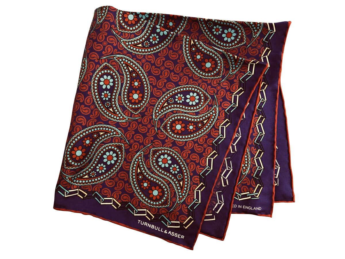 ポケットチーフ シルクチーフ メンズ 紳士 英国製 Silk ターンブル&アッサー Turnbull&Asser 大判 Purple/Paisley パープルペイズリー C096