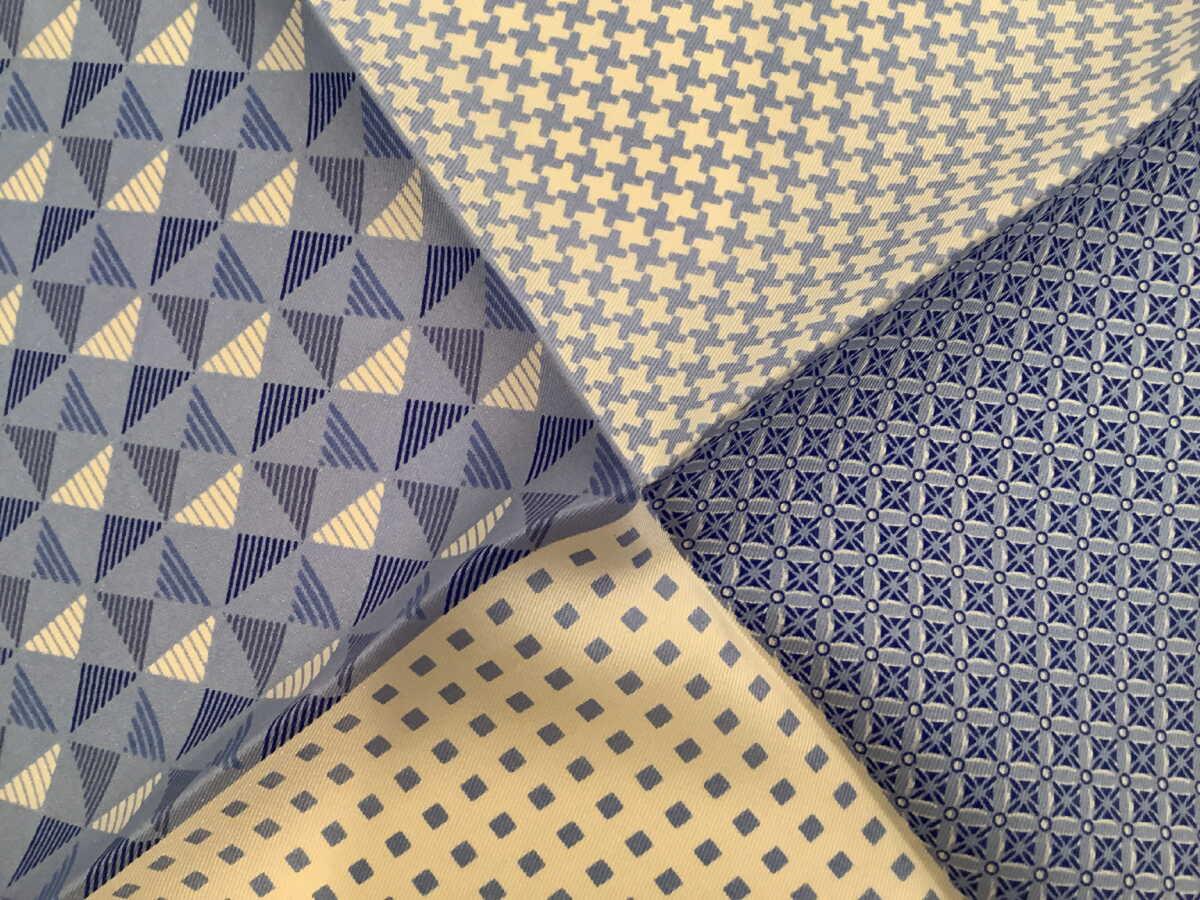 ポケットチーフ シルクチーフ メンズ 紳士 Silk 英国 マイケルソン of ロンドン 大判 4Pattern/Blue Size40x40cm C150
