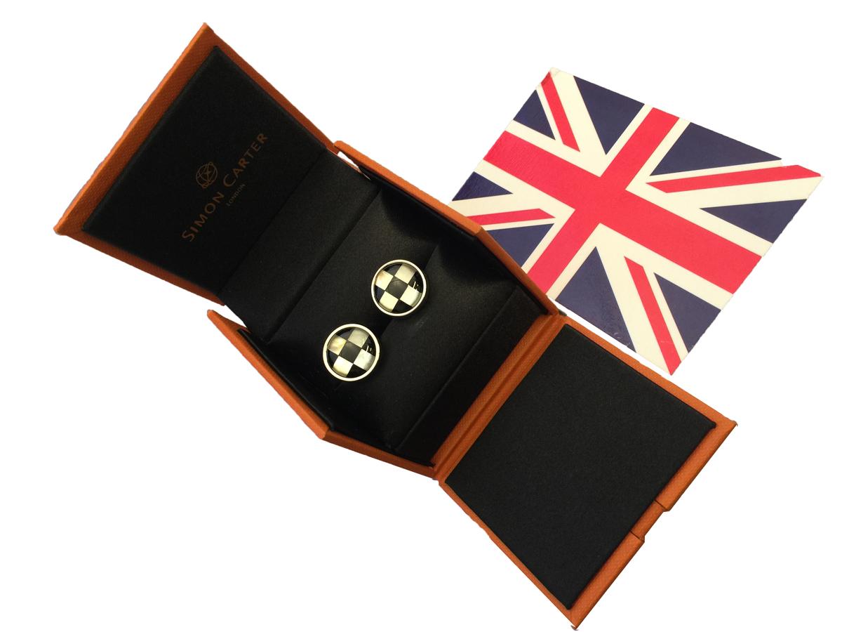 カフス カフリンクス Cufflinks メンズ 紳士 英国製 サイモンカーター SimonCarter マザーオブパール&オニキス MOP&Onyx L067
