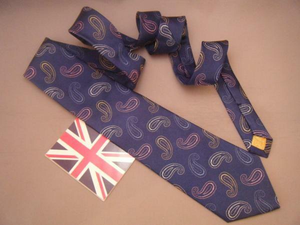 ネクタイ メンズ 紳士 英国製 ターンブル&アッサー Turnbll&Asser タイ 32 Silk 100% Size 9.5x143cm Blue Paisley柄 E111