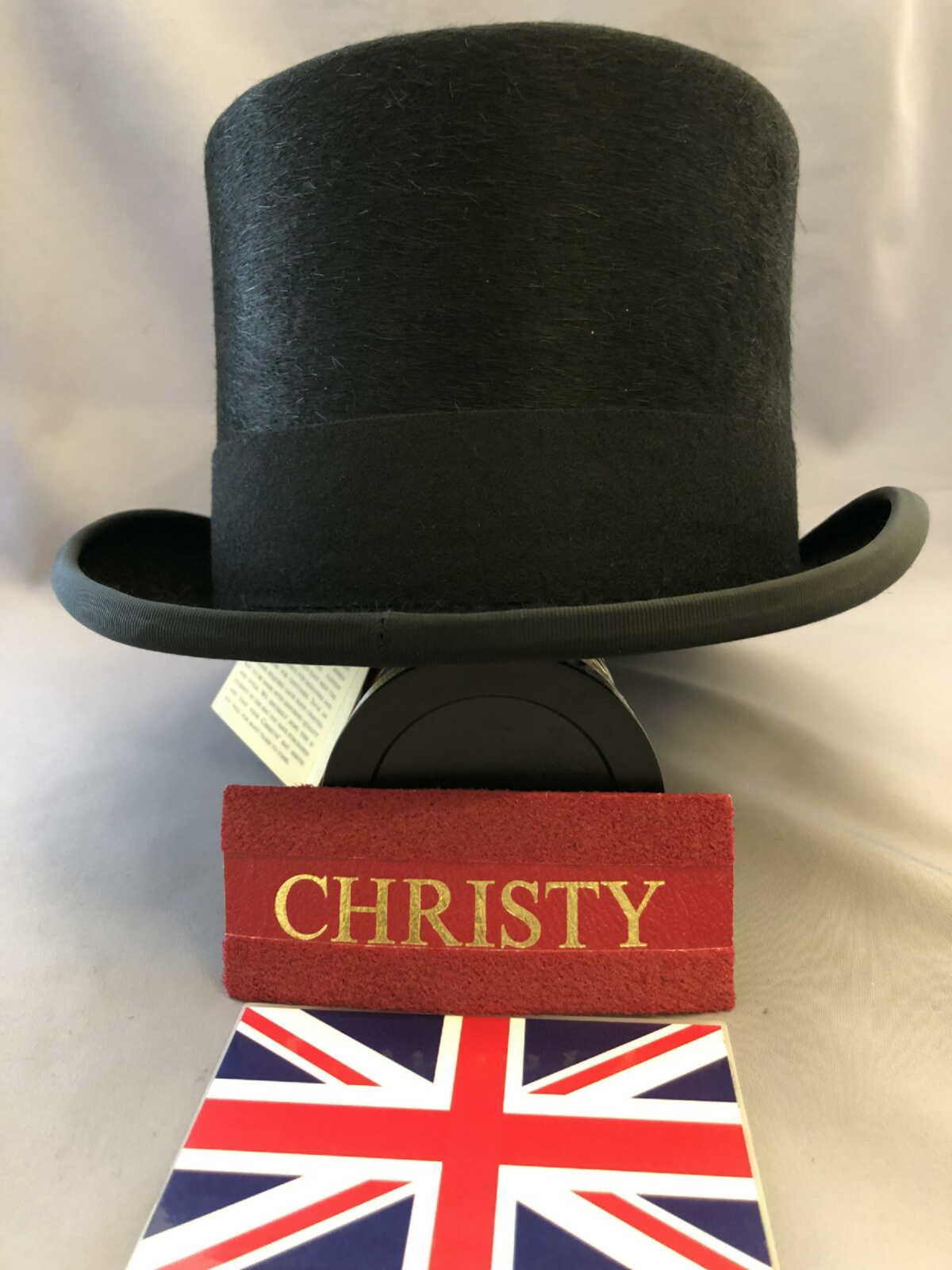 兎毛トップハット英国クリスティーズ 帽子 英国 Christys' クリスティーズ トップハット WEB限定 贈与 ブラック サイズ選択 ファー兎毛ハット シルクハット H001 黒