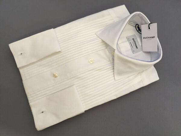 【あす楽対応】ドレスシャツ 英国 ドゥシャン Duchamp イヴニング Wカフス プリーテッドブザム ひだ胸 フォーマルシャツ タキシード 綿 サイズ選択 T002