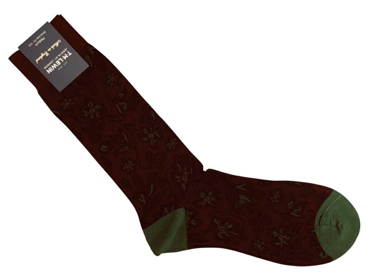 紳士用 父の日 靴下 Socks ソックス ハーフホーズ ミドルカーフレングス 正規品スーパーSALE×店内全品キャンペーン コットン 綿 Cotton Burgundy メンズソックス Floral ティーエムルーイン TMLewin 紳士 Green K069 売れ筋 英国製
