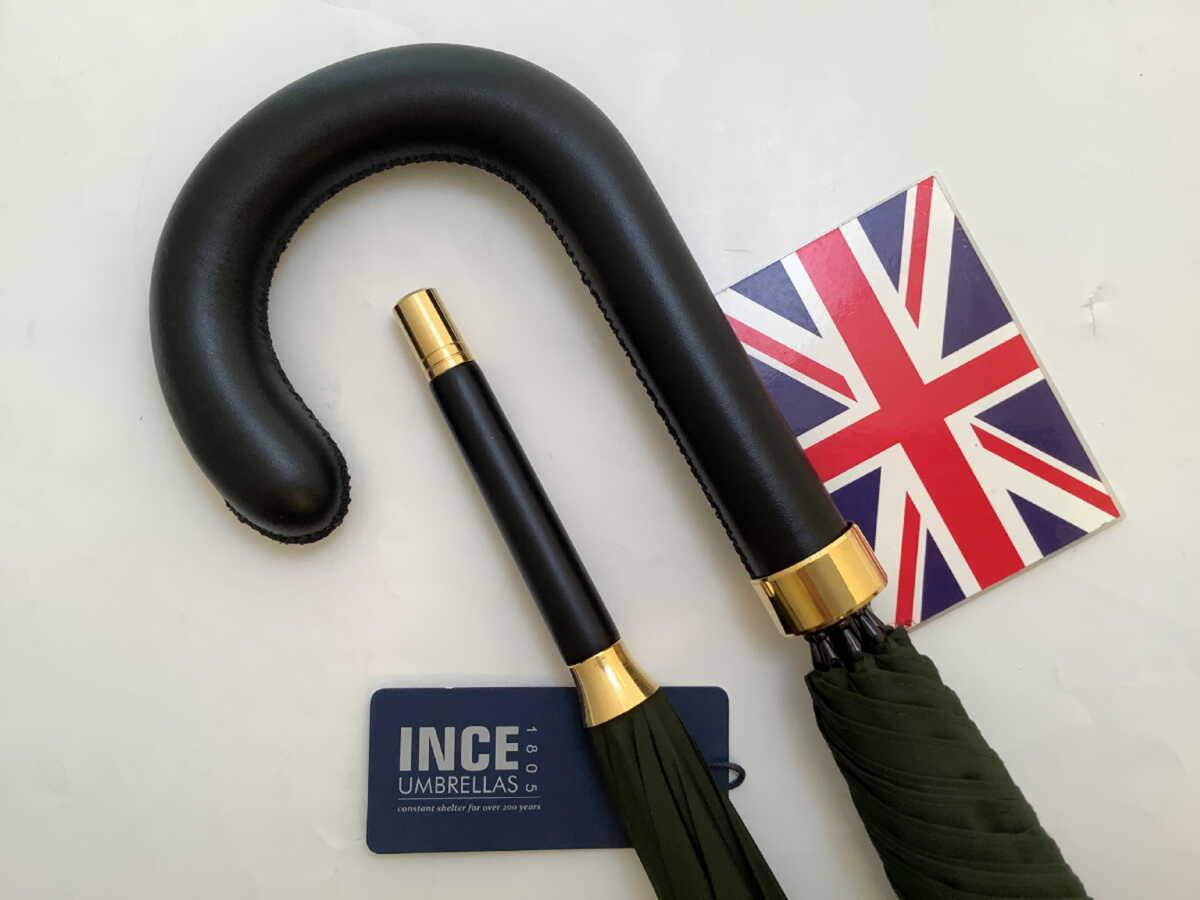 紳士用 父の日 傘 Umbrella アンブレラ フォックス 革巻き Fox  傘 メンズ 紳士 雨傘 長傘 英国製 最古参 JamesInceSons ジェームスインスの傘 革巻きハンドル LTGreen Size 92.5cm(361/2in) U012