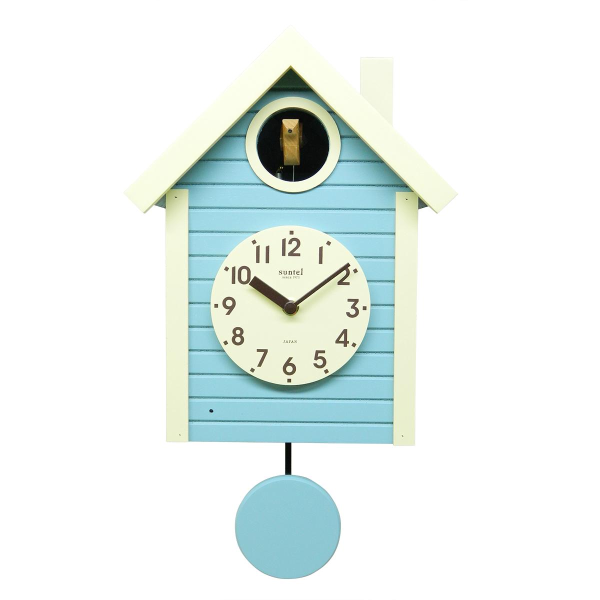 鳩時計 おしゃれ 電波 北欧 さんてる 木製 アクアブルー 掛け時計 壁掛け時計 柱時計 日本製 ギフト プレゼント インテリア ナイトセンサー リビング レトロ