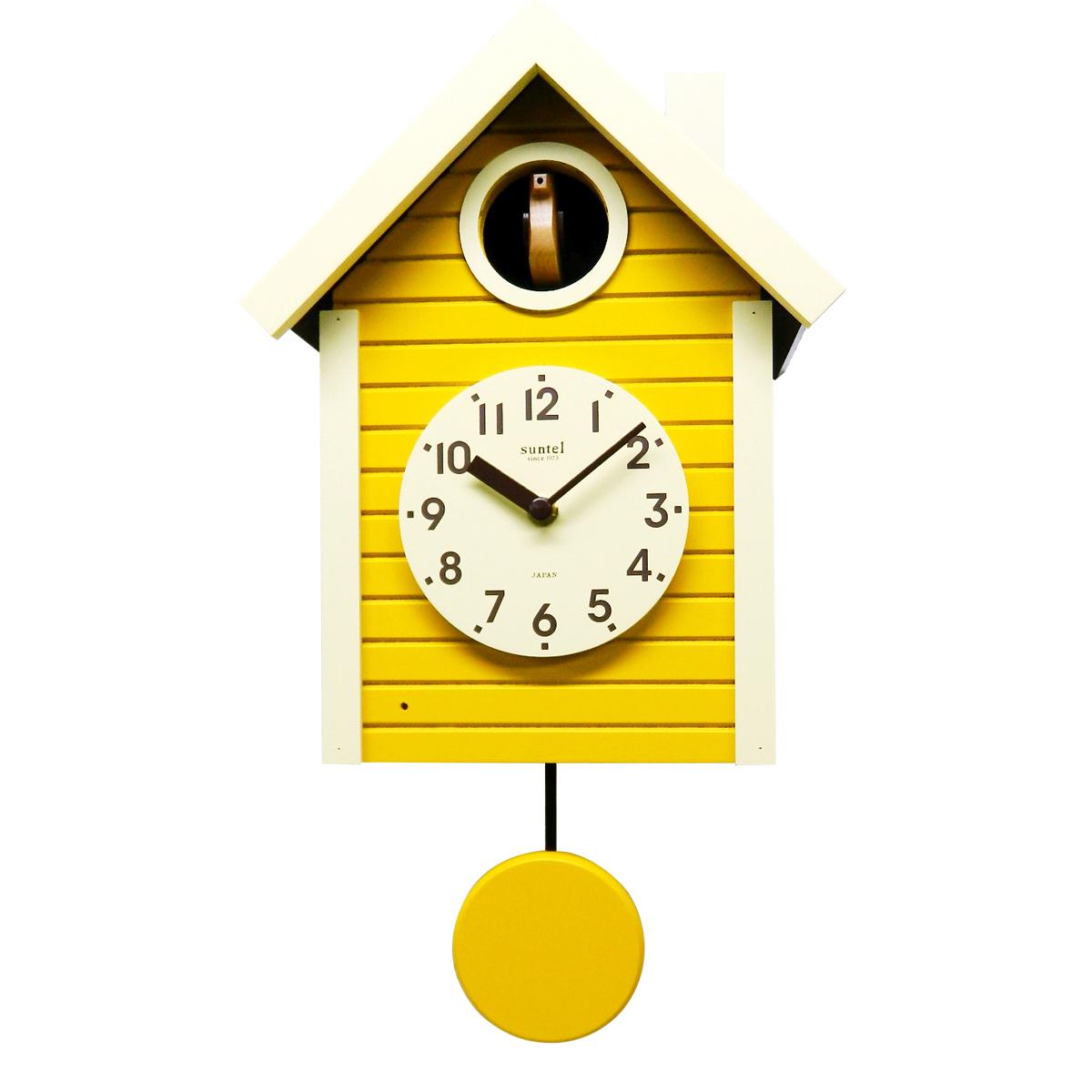 ハト時計 はと時計 引っ越し祝い 新築祝い かわいい 小鳥 誕生日 デザイン 引越し 引っ越し 敬老の日 ランキング受賞 送料無料 あす楽 おしゃれ 柱時計 木製 掛け時計 さんてる 日本製 北欧 インテリア プレゼント イエロー 壁掛け時計 限定タイムセール 賜物 ギフト ナイトセンサー 鳩時計