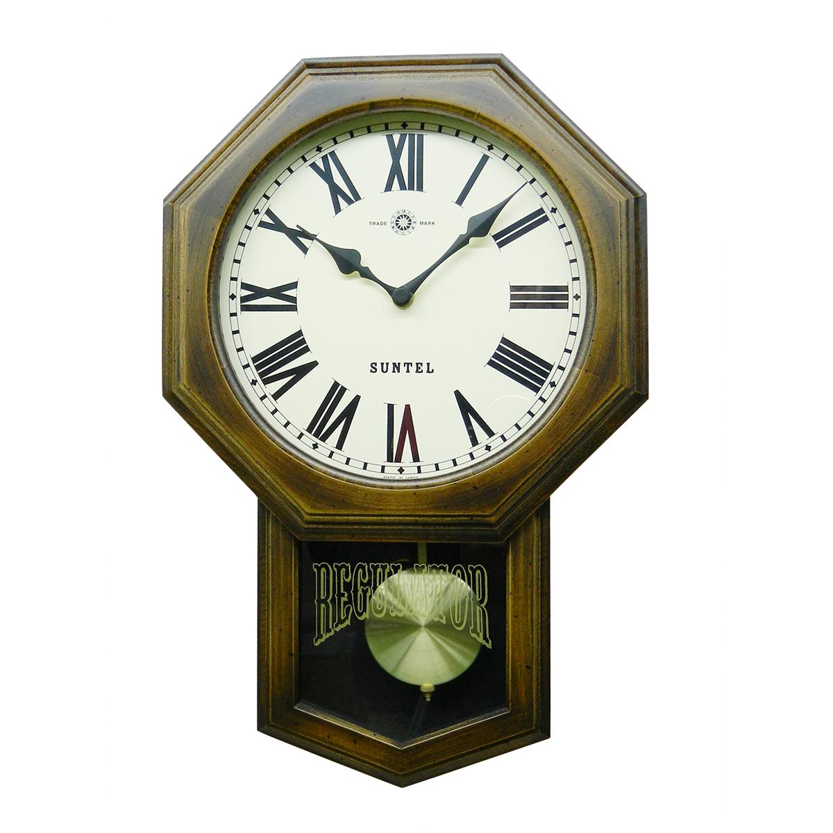 日本製 さんてる 八角 アンティーク電波振り子時計 ローマ文字