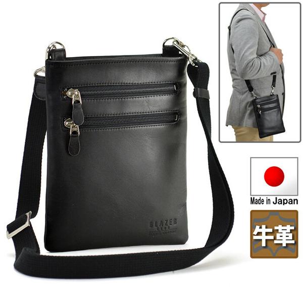 BLAZER CLUB 日本製 牛革 薄マチ ポケットみたいに使えるショルダーバッグ 縦型 18cm 黒 薄型 お出かけや旅行用に ミニショルダー バッグインバッグ バック バッグ メンズ 男性用 かばん 父の日のプレゼントに 16367