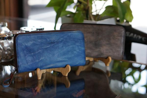 福山レザー ラウンドファスナー長財布 ポッシュF ファスナー付き小銭入れ 男女兼用 長サイフ メンズ レディース 紳士用 男性用 女性用 青色 ブルー 革製品