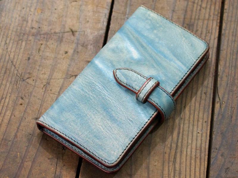 福山レザー iPhone6plus用手帳型スマホケース カバー ハンドメイド革製品 青色