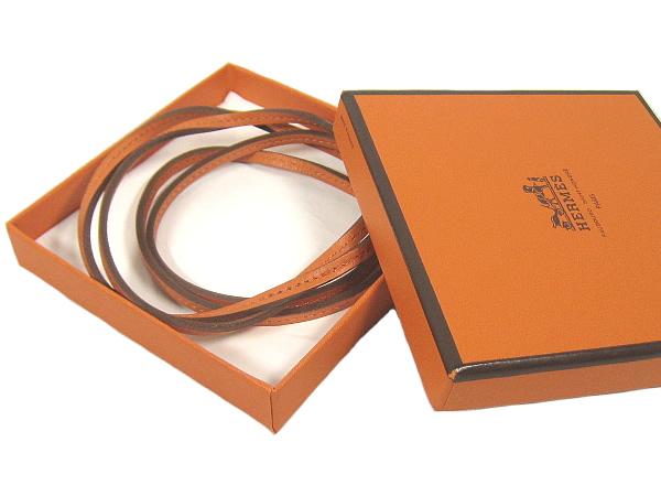 エルメス オレンジカーフ ブレスレットにもOK HERMES美品3Lq5R4Aj