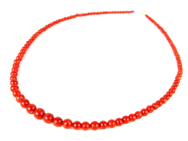 【中古】天然珊瑚 さんご サンゴ ネックレス K18 アクセサリー 赤 レッド【送料無料】【店頭受取対応商品】
