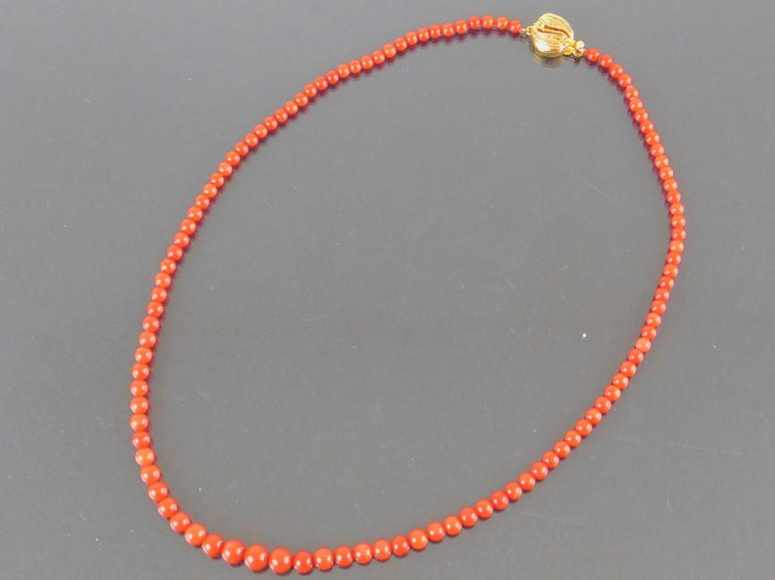 【中古】珊瑚 さんご サンゴ ネックレス シルバー 赤色【送料無料】【店頭受取対応商品】