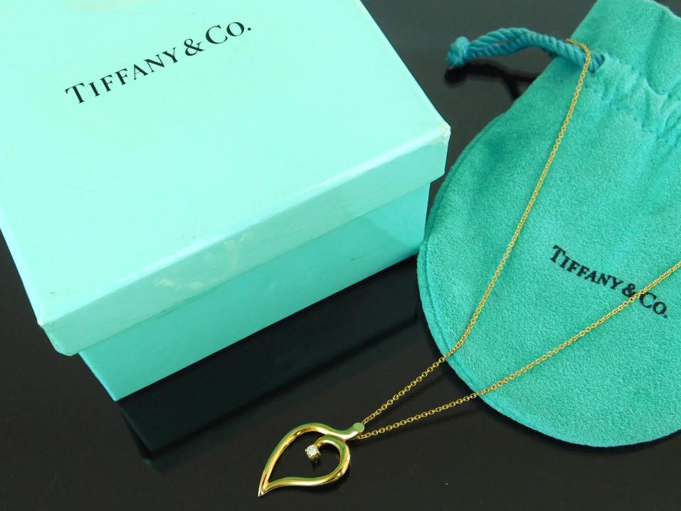 【中古】TIFFANY&Co. ティファニー ネックレス ペンダント 750 イエローゴールド ダイヤモンド リーフモチーフ 保存袋 ケース付き【送料無料】【店頭受取対応商品】