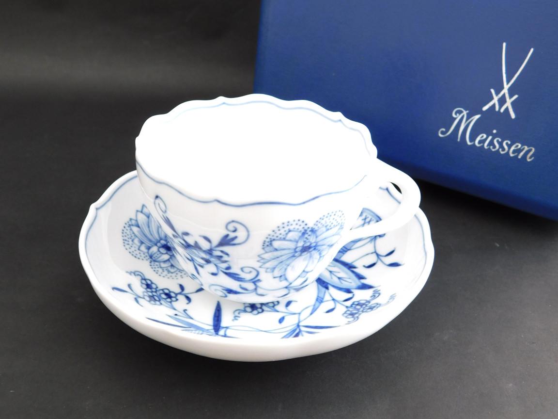 【中古】正規品 Meissen マイセン 陶磁器 ブルーオニオン ティーカップ&ソーサー 1客【送料無料】