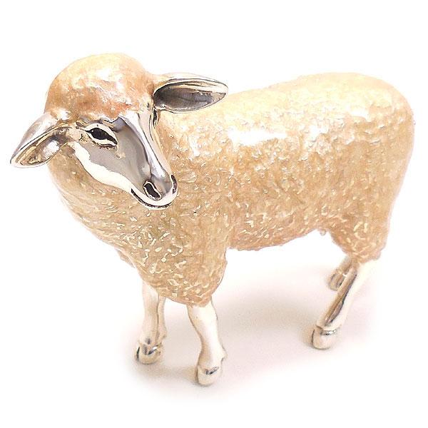 サツルノ 置き物 オブジェ シルバー925 羊 ヒツジ 大 エナメル彩色 イタリア製 インポート