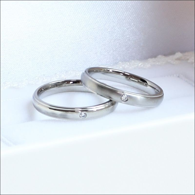 純白のブライダルケース付 Le Ciel 空 交換無料 ペアリング マリッジリング チープ 結婚指輪 安い 婚約指輪 名入れ 2本ペア価格 ステンレス カップル 送料無料 レディース 2個セット ケース メンズ 刻印 おしゃれ