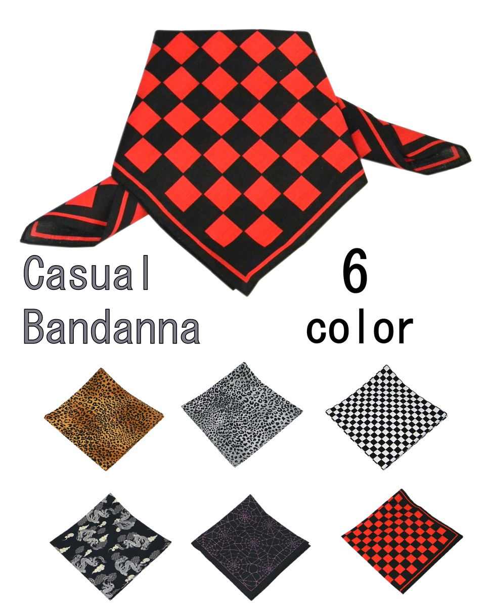 ヒョウ柄 市松 海外 和柄龍 くもの巣 爆安 バンダナ 日本製 マスク代用 ロックファッション スカーフ ブロックチェック メール便可 ハンカチ 日よけ カチューシャ フェイスマスク 6カラー