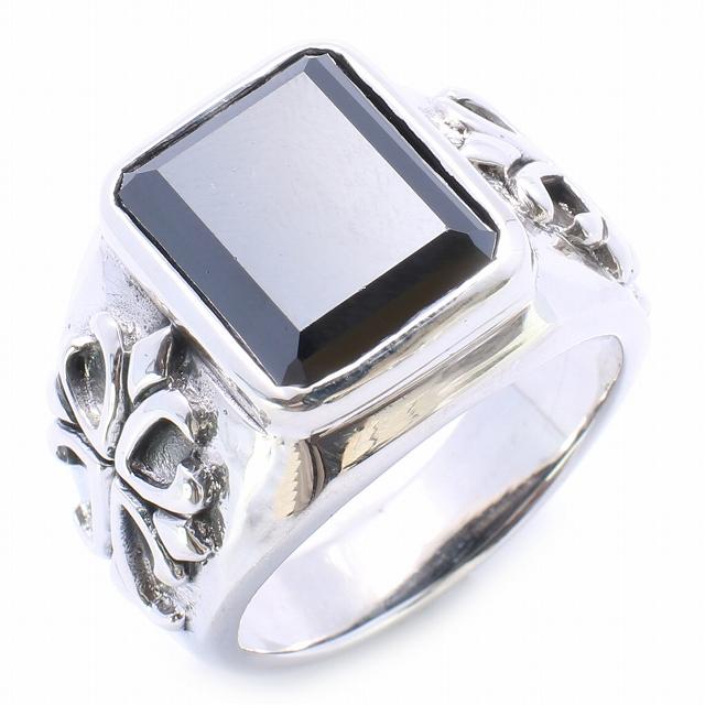 【RG-O080】SILVER 925オニキススクエアWithクロスシルバーリング/【指輪】/メンズ/レディース/【あす楽】/ギフト/プレゼント