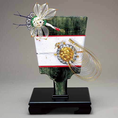 茶道具 新春・干支 鶴亀寿飾り羽子板 (唐木台付) [限定3個] 加藤五陶作