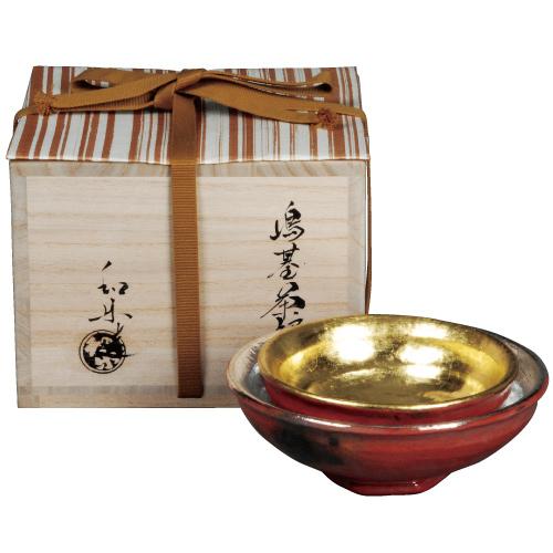 茶道具 新春・干支 島台茶碗 了入(小) 旦入(大) 合作写 川嵜和楽作