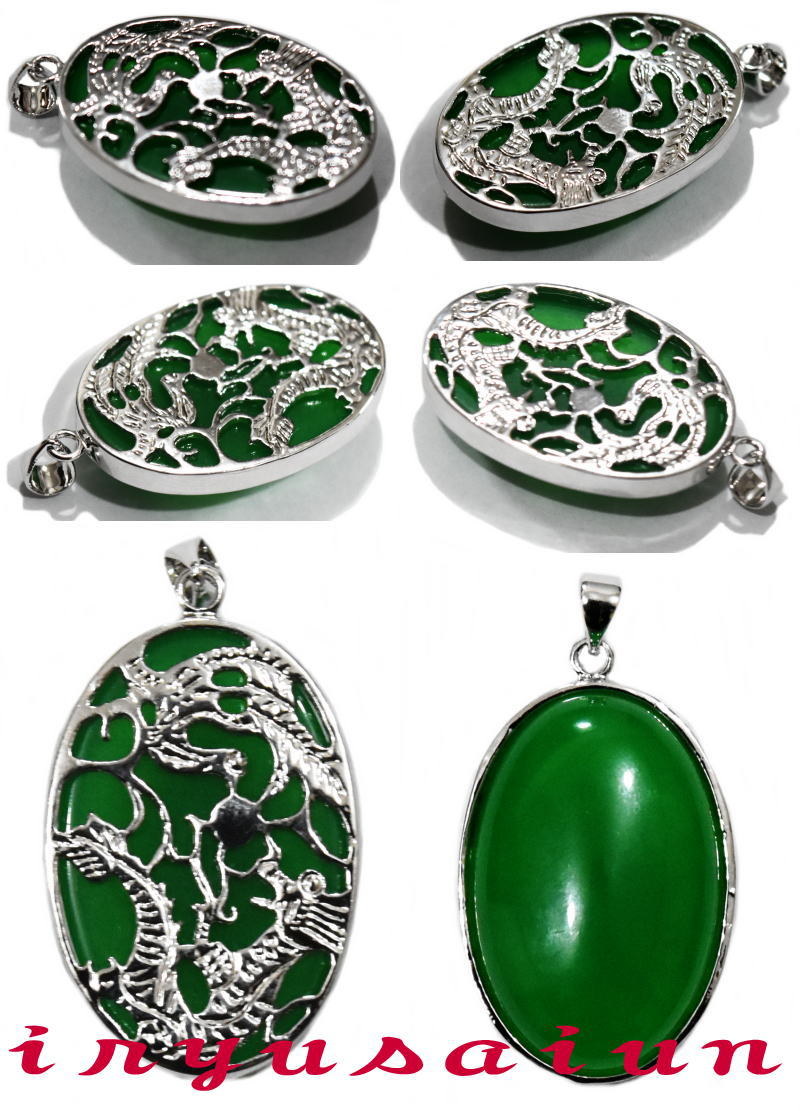 Green Jade Alloy Metal Lucky Dragon Phoenix Amulet Pendant