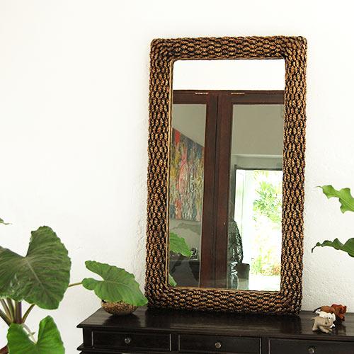 ウォーターヒヤシンスミラー 120×70/鏡 ミラー 姿見 全身 壁掛け 全身鏡 全身姿見 ワイド ワイドミラー 角型 玄関 リビング 廊下 ウォーターヒヤシンス おしゃれ ナチュラル モダン インテリア アジアンテイスト バリ ハワイアン リゾート サロン 美容室