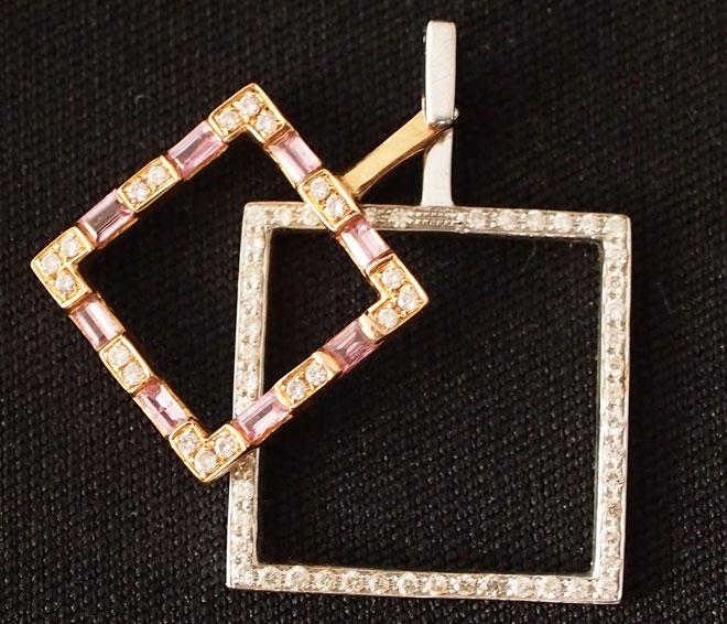 プチネックレスダイヤモンドピンクサファイヤK18ペンダントトップネックレス中古18金ピンクゴールドスウィング