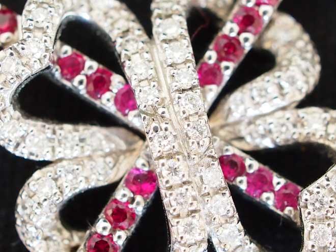 クロスハートネックレスk18WGルビーダイヤモンドペンダントトップ中古18金デザイン激安質屋ロング
