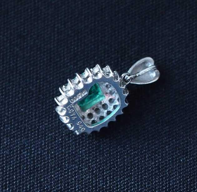 エメラルドダイヤモンドペンダントトップ中古レディースPt900E0.74ctD0.40ct3.2gプラチナダイア送料無料激安質屋