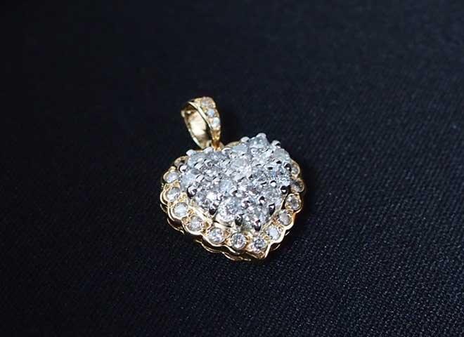 マルチアメシストアメジストアクアマリンダイヤモンドペンダントトップネックレス中古K10WG