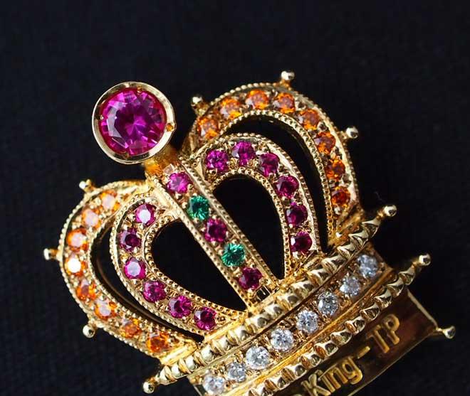 ルビーネックレスk18ダイヤクラウン王冠ダイヤモンドペンダントトップ中古18金