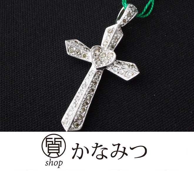 リバーシブル クロス ハート ネックレス K18WG ダイア 0.54ct 3.2g プチネックレス ダイヤモンド ペンダントトップ 中古 18金 ホワイトゴールド 十字架