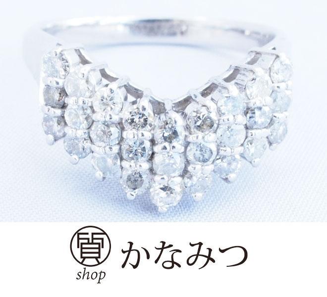 ダイヤモンド リング V字 中古 レディース Pt900 15号 D1ct 6.5g プラチナ 指輪 ダイア 激安 質屋