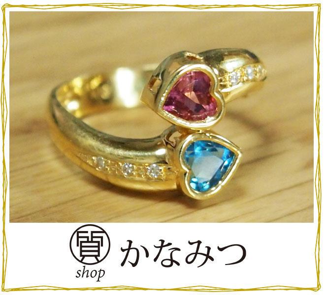 ブルートパーズ リング ハート 中古 ダイヤモンド K18 新品仕上げ済み 指輪