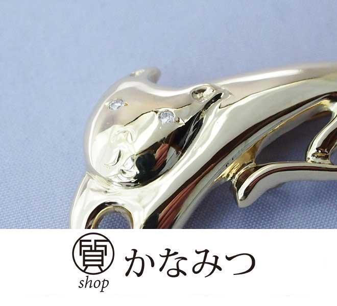 猫 ダイヤモンド ネックレス ペンダントトップ ピンブローチ k18 中古 0.02ct 5.4g 18金 ダイア キャット
