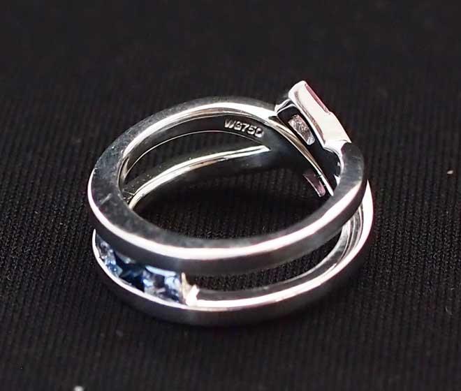 指輪レディース金750WGおしゃれサファイヤピンクサファイヤタンザナイトピンクトルマリンリング中古9号7.72g指輪ピンク色青色送料無料激安質屋