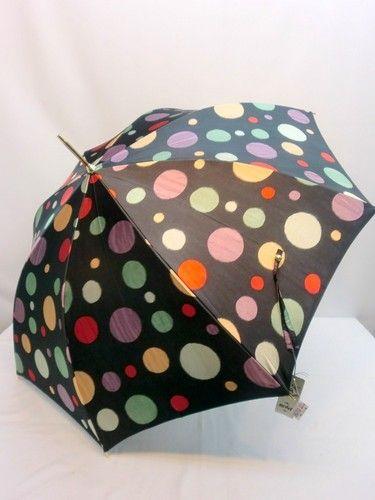 雨傘・長傘-婦人 甲州産ほぐし織り多色乱水玉柄ジャンプ雨傘 【送料無料】