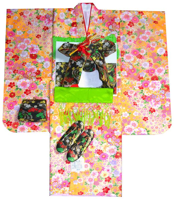七五三 ねじり梅 着付けマニュアルDVD付き販売 7歳 肩上げ無料 四つ身セット 着物フルセット 女の子 山吹 着物 2020年新作 購入