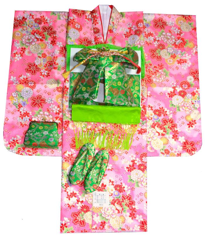 七五三 着物 7歳 女の子 着物フルセット 桜に牡丹 ピンク 四つ身セット 2020年新作 肩上げ無料 着付けマニュアルDVD付き販売 購入